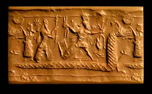 Battle of Marduk and Tiamat, Neo-Assyrian Cylinder Seal, 900 - 750 BCE