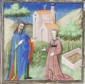 Bible Historiale, Achsah and Caleb, 15th century
