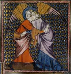 Bible historiale, Jacob and the Angel, 14th cent.
