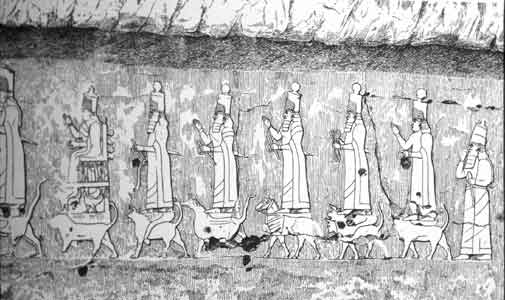 Procession of Assyrian Gods, Maltai, 704-681 BCE