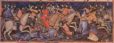 Bible of Matteo di Planisio, Abraham`s Battle with the Four Kings, ca. 1362