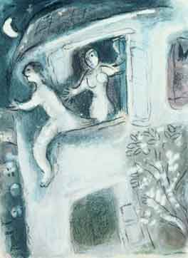 Marc Chagall, David saved by Michal, 1960