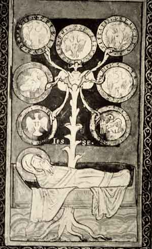 Siegburg Lectionary,Jesse Tree, 12th century