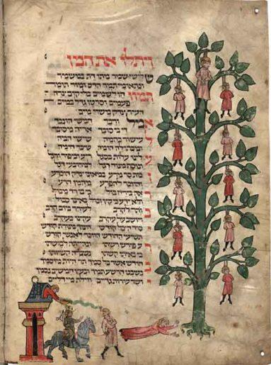 מחזור לייפציג ( Vollers 1102/I, f. 31v): תליית המן ובניו